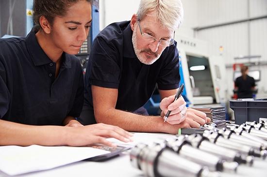 Learning and development, senior staff member mentoring an employee