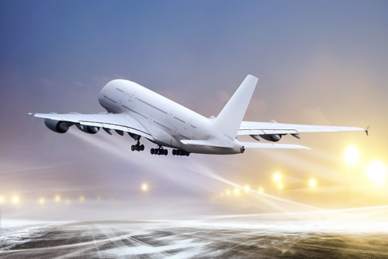 Transportation industry application, plane taking off from a deiced runway