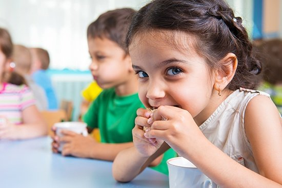 Food and agro-chemicals application, children enjoying healthy snacks